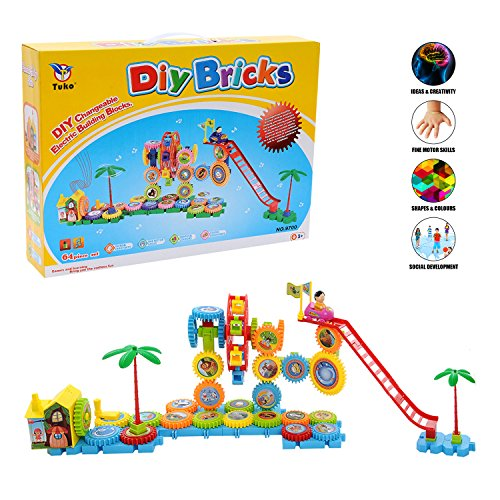 Tuko STEM Music Preschool Activity Learning Toys Gears, 64pcs Electric Durable Building Kit for Toddlers Toys, Girl/Boy Gift for Above Ages 3