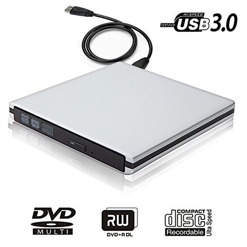 USB 3.0 External DVD CD Drive Burner,TENNBOO Portable CD/DVD-RW Burner Writer Player for Laptop Notebook PC Desktop Computer,High Speed Data Transfer Support Windows XP/ Vista/7/8/2000,Mac (Silver)