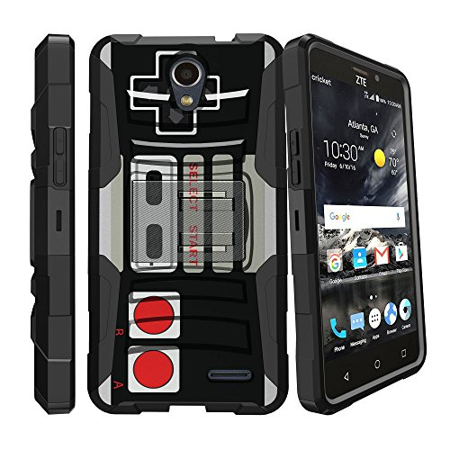 MINITURTLE Case Compatible w/ ZTE Prestige 2 Case, ZTE Avid Trio, ZTE ZFive 2 Case [CLIP ARMOR] Rugged Heavy Duty Holster Case w/ Dual Layer Protection, Rotating Holster, Stand - Retro Controller by MINITURTLE
