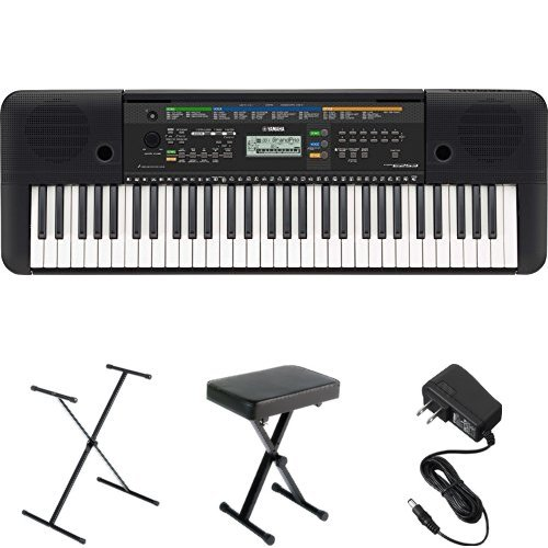 yamaha psre253 61 key portable keyboard with stand bench and power supply. Black Bedroom Furniture Sets. Home Design Ideas
