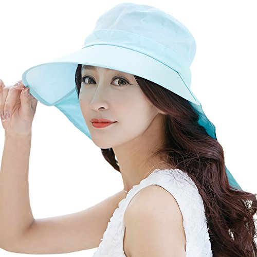 Siggi Summer Bill Neck Flap Hat UPF 50+ Cotton Sun Cap with Large Brim Shade for Women Green ()
