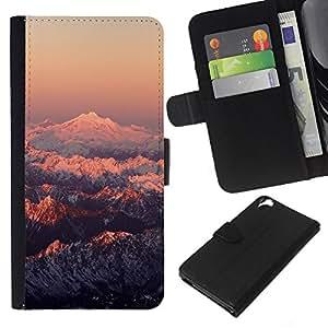 LECELL--Cuero de la tarjeta la carpeta del tirón Smartphone Slots Protección Holder For HTC Desire 820 -- Montaña Nevada Sunset --