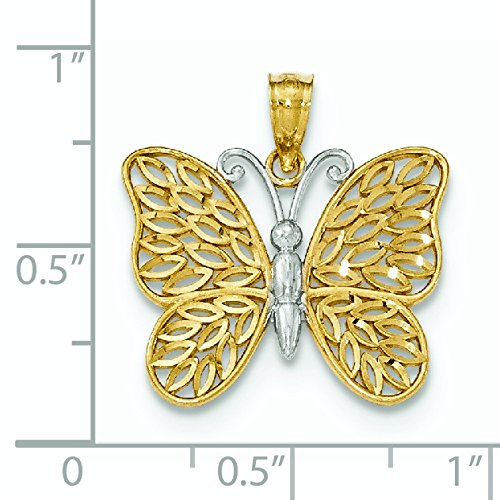De poli or 14 carats avec Y Cut out-Papillon-JewelryWeb