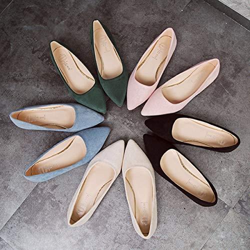 Noir En Daim Surface Unique Simple Pointue Plate Qpggp Semelle Semelle As shoes Mètres Des Chaussures APWvwq6
