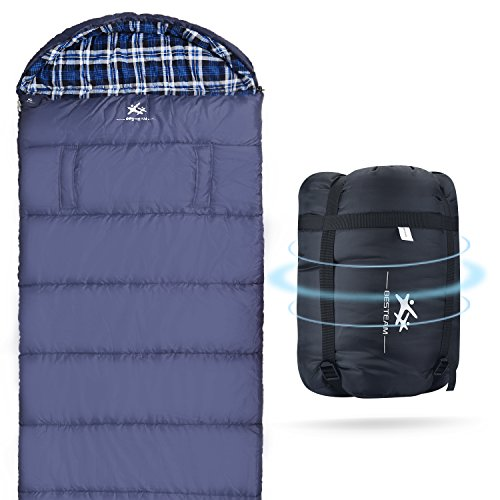 BESTEAM Cotton Flannel Sleeping bag for Adults, XL 90