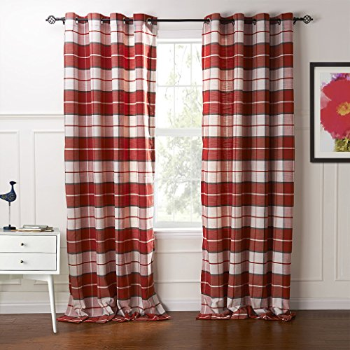 IYUEGO Country Retro Red Plaid Eco-friendly Jacquard Grommet Top Lining Blackout Curtains Draperies With Multi Size Custom 84