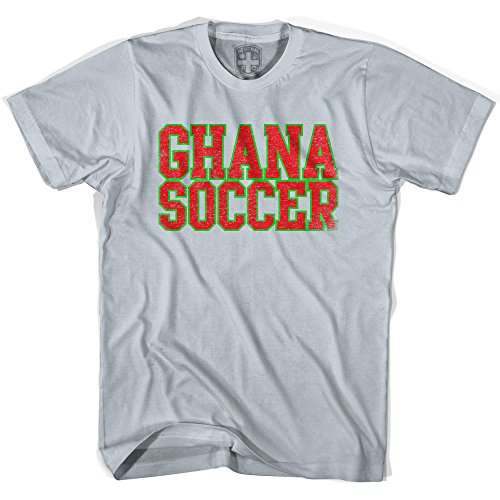 (Ghana Soccer Nations World Cup T-shirt, Silver, Adult X-Large)