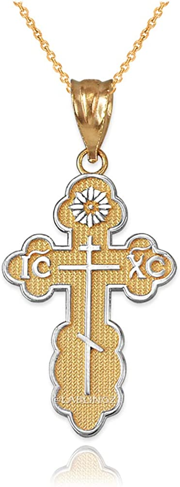 LA BLINGZ 10K Two-Tone Yellow Gold Eastern Orthodox Cross Pendant Necklace