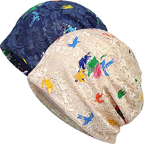 - MuYiTai Womens Cotton Beanie Chemo Caps for Cancer Patients (2pack Beige+Navy Paint Flower)