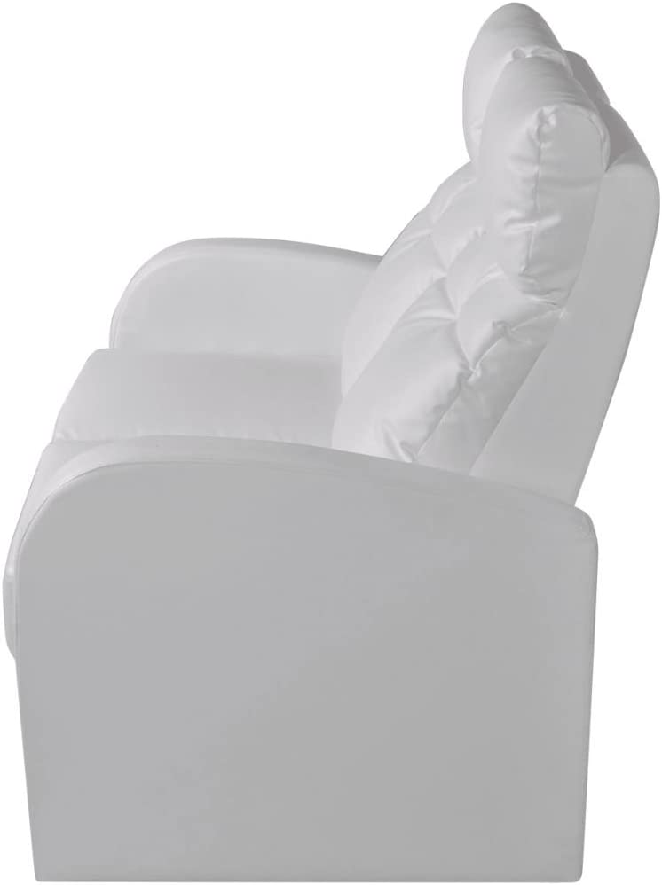 vidaXL Sill/ón Blanco reclinable tapizado Cuero Artificial 2 plazas Cinema casa
