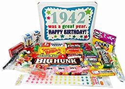 75th Birthday Gift Basket Box of Retro Nostalgic Candy from Childhood for a 75 Year Old Man or Woman Born in 1942