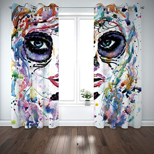 SCOCICI Grommet Polyester Window Curtains Drapes [ Sugar Skull Decor,Halloween Girl Sugar Skull Makeup Watercolor Painting Style Creepy Decorative,Multicolor] Living Room Bedroom Kitchen Cafe