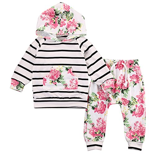 c588d8354db7 Toddler Baby Girls Floral Hooded T-shirt Top + Pants Outfits Set Kids  Clothes
