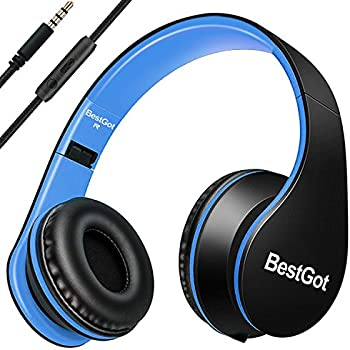 [Upgraded Version] BestGot Over Ear Headphones with microphone In-line Volume for Kids Boys Adult, Included Cloth Bag , Foldable Headset with 3.5mm plug removable cord (Black/Blue)