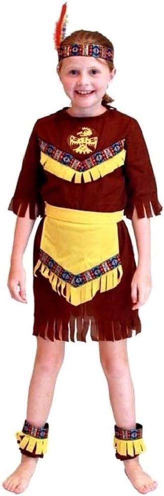 Disfraz indio niño nativo americano carnaval étnico marrón talla m 6/7 años