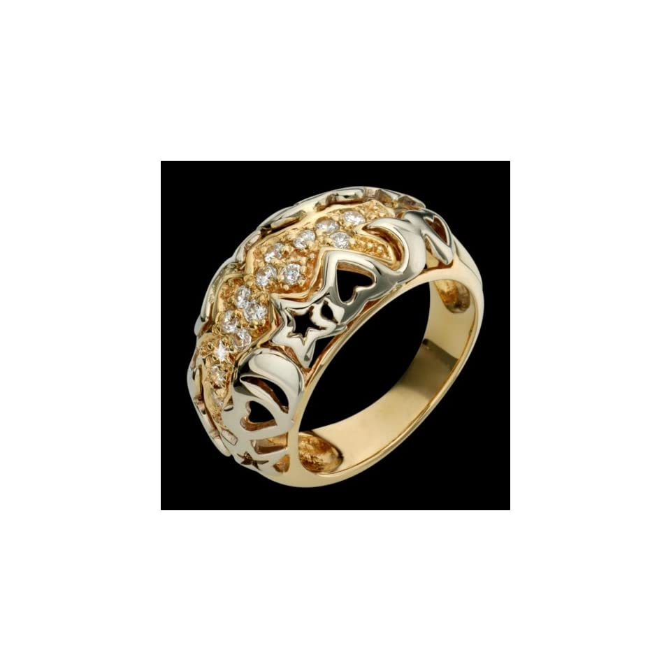 Etoile   Dazzling 14k Two Tone Gold Diamond Ring   Custom
