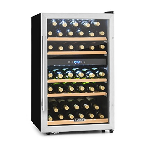 KLARSTEIN Vinamour 40D Wine Refrigerator • Beverage Cooler • Fridge • 2 Cooling Zones • 4.8 Cubic Feet • LCD-Display • Stainless Steel Front • Touch Control Panel • 5 removable Shelf Racks • Silver by KLARSTEIN