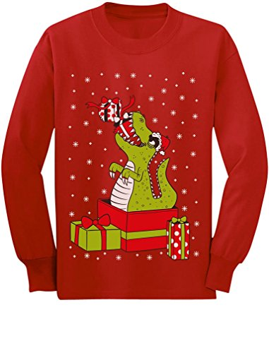 T-Rex Christmas Gift Dinosaur Ugly Xmas Sweater Toddler/Kids Long Sleeve T-Shirt 5/6 Red
