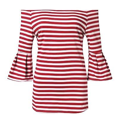 TWGONE Cold Shoulder Ruffle Sleeve Tops For Women Summer Stripe T Shirt Blouse