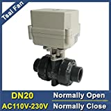 Fincos PVC DN20 3/4'' Motorized Ball Valve 2 Way Normally Open/Close Valve AC110V-230V 2/5 Wires 10NM On/Off 15 Sec Metal Gear CE - (Specification: DN20 NPT, Wiring Control: CR202 Normally Close)
