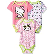 Hello Kitty Baby Girls' Value Pack Bodysuits, Multi-Color, 3-6 Months