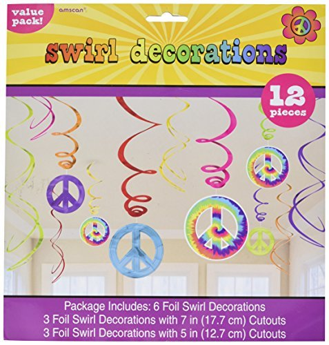 Amscan Groovy 60's Party Peace Sign Swirl Decorations Value Pack (12 Piece), Multi Color, 10 x (1960s Peace Sign)