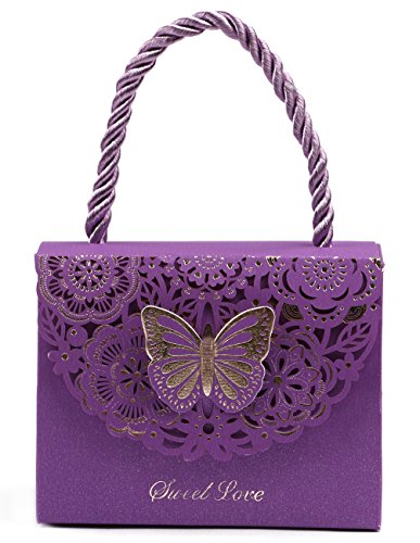 (DriewWedding 20pcs Wedding Decorative Boxes Gift Bags Butterflies with Handle, Party Favor Bags Paper for Anniversary, Birthday Parties, Baby Shower, Bridal Showers - Purple, 3.5