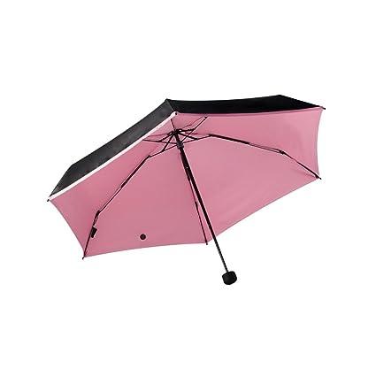 Umbrella Mini Paraguas Ligero, Cinco Paraguas Plegables, Negro Externo, Interno Rosa Azul Verde