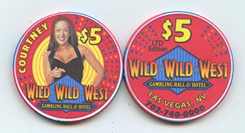 $5 Wild Wild West Hotel and Gambling Hall Casino Chip Courtney from 2004 Limited Edition Las Vegas Nevada Casino Chip Uncirculated Collectors Chip Real from the Wild Wild West Casino