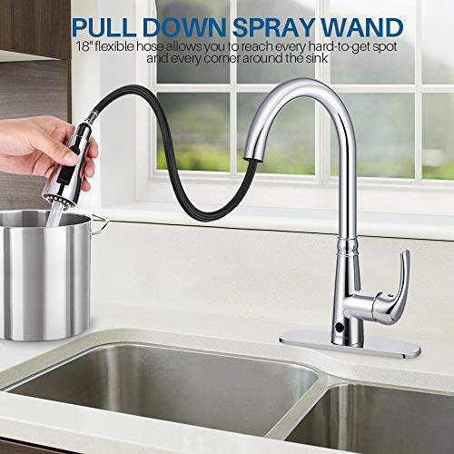 Motion Sensor Kitchen Faucet With Sprayer Polished Chrome No Touch