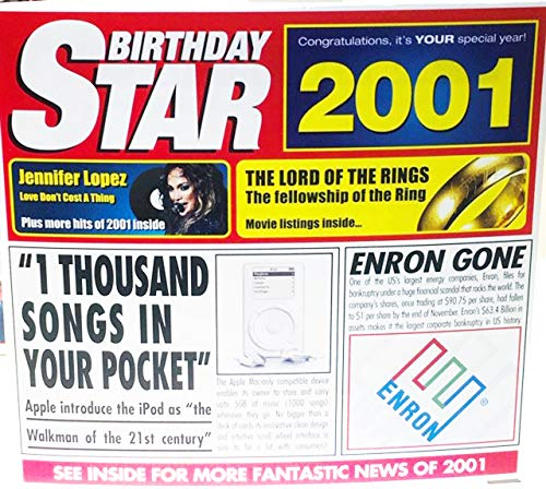 Price comparison product image 2001 BIRTHDAY STAR Retro Greeting Card & CD Gift - 2001 Music Chart Hits Compilation CD & Year Greetings Card 6 x 5.5inches