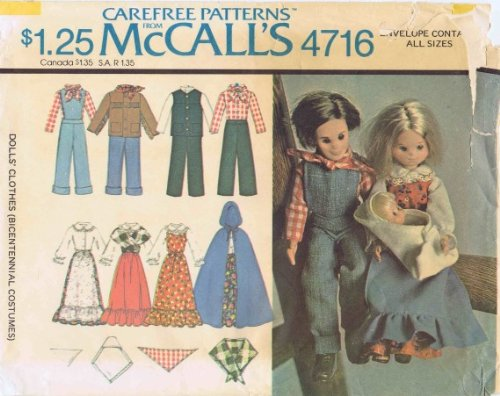 [Doll Bicentennial Costumes 1970s McCall's 4716 Vintage Sewing Pattern] (70s Costume Patterns)