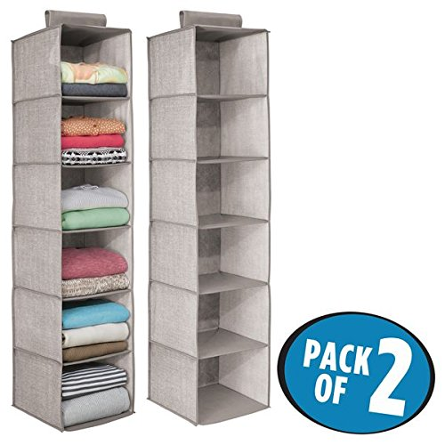 mDesign Fabric Hanging Closet Storage Organizer for Clothing, Sweaters, Shoes, Accessories - Pack of 2, 6 Shelves Each, ()