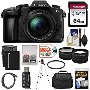 51S0IS 9IeL. SS300  - Panasonic Lumix DMC-G85 4K Wi-Fi Digital Camera & 12-60mm Lens with 64GB Card + Battery & Charger + Case + Tripod…