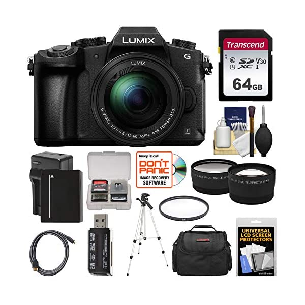 51S0IS 9IeL. SS600  - Panasonic Lumix DMC-G85 4K Wi-Fi Digital Camera & 12-60mm Lens with 64GB Card + Battery & Charger + Case + Tripod…