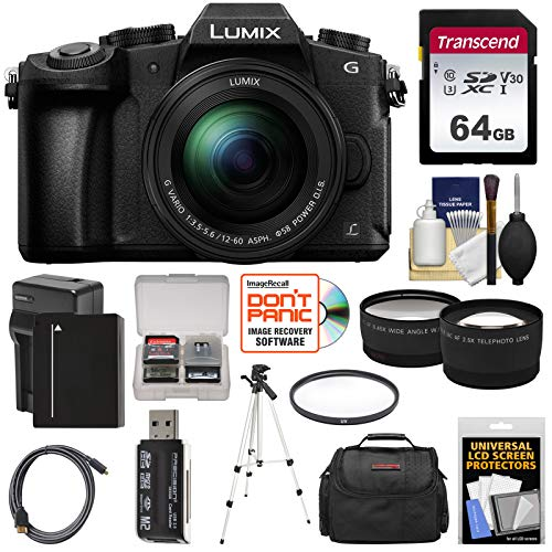 - Panasonic Lumix DMC-G85 4K Wi-Fi Digital Camera & 12-60mm Lens with 64GB Card + Battery & Charger + Case + Tripod + Filter + Tele & Wide Lens Kit
