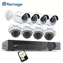 1080P PoE CCTV Security Camera System, Techage 4 Bullet+4 Dome Cam Home Surveillance Kit With 2TB Hard Drive, 48V Indoor&Outdoor Waterproof IP Cameras, Smart Phone Remote View, Clear Night Version