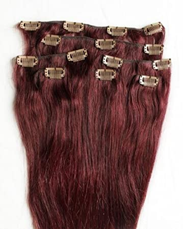 Amazon full head 24 100 remy human hair extensions 7pcs full head 24quot 100 remy human hair extensions 7pcs clip in 99j burgundy pmusecretfo Choice Image
