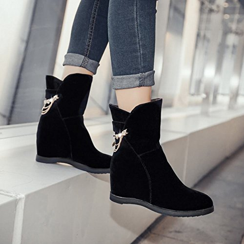 Womens Fashion Boots Faux Latasa Short Black Suede Wedge Winter Fall d5nFf