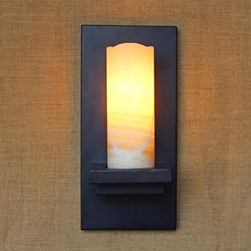 Vintage retro black metal glass Marble lampshade wall lamp E27 for Bathroom Vanity Lighting porch night light fixture sconce (Contemporary Marble Glass Plug)