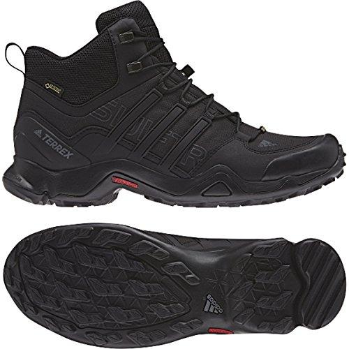 (Adidas Terrex Swift R Mid Hiking Boot - Black/Black/Dark Grey - Mens - 10)