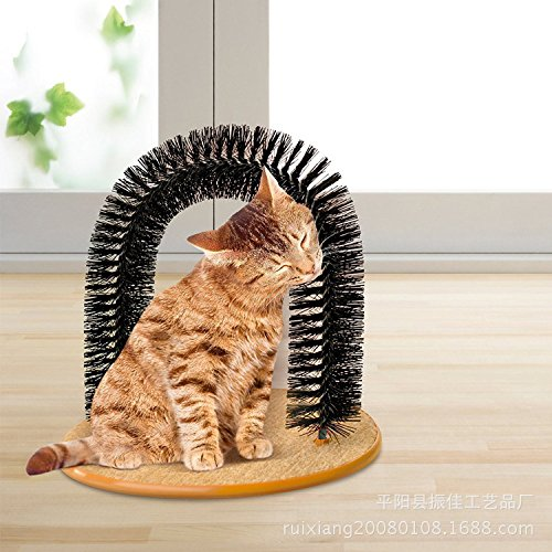 Pet Cat Arch Self Groomer Massager Groom Toy Pet Cat Scratcher Toys Fur Grooming Cat Toy Brush Controls Shedding