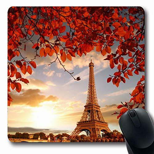 (Ahawoso Mousepads Leaves Blue Europe Eiffel Tower Autumn Paris France Parks Travel Nature Romantic Sunset Vacation Oblong Shape 7.9 x 9.5 Inches Non-Slip Gaming Mouse Pad Rubber Oblong Mat)