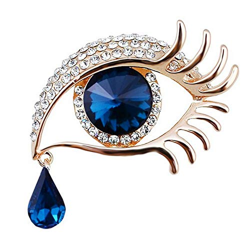 Blue Eye Brooch Pin With Crystal Rhinestones in gold or silver color plated,Blue ()
