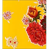 Round Oilcloth Tablecloths in Mum Collection - Yellow - 47'