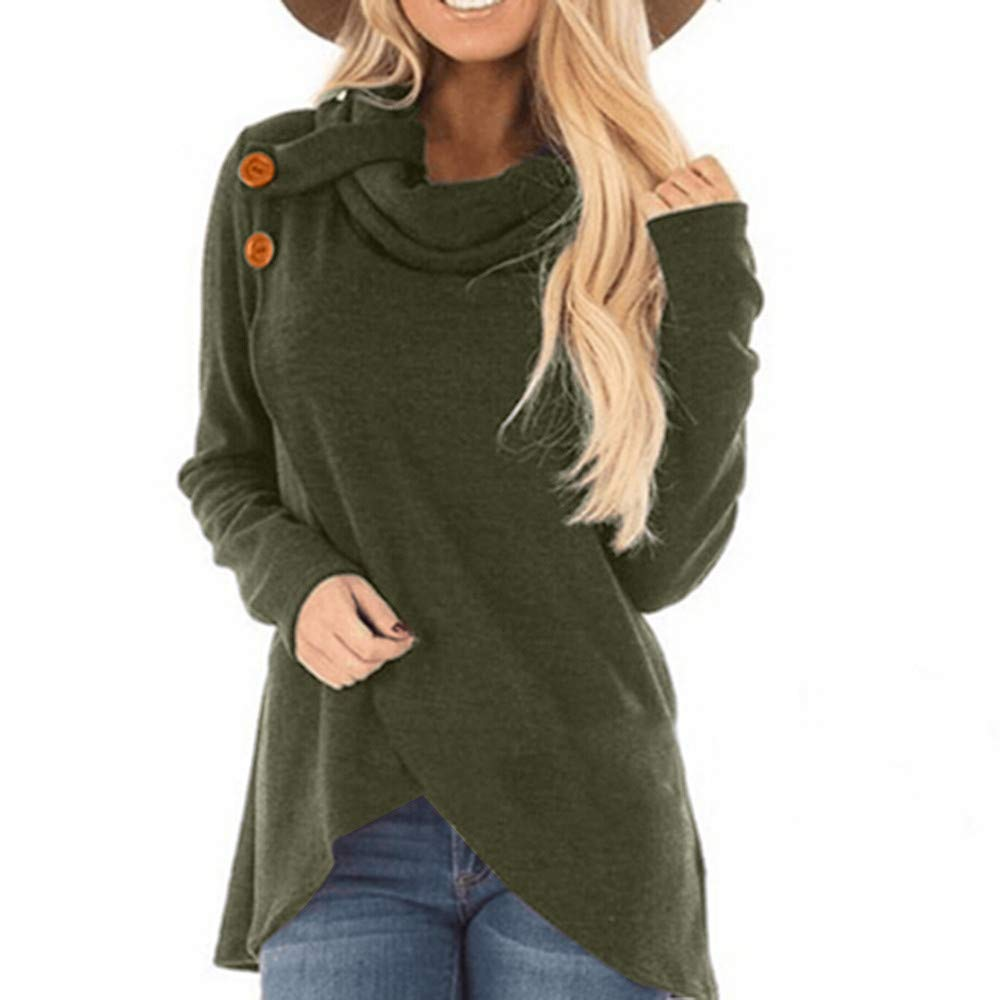 Robemon Femmes Hoodie Automne Hiver Manches Longues Casual Solide Sweat-Shirt Pull Top Blouse (Vert, S)