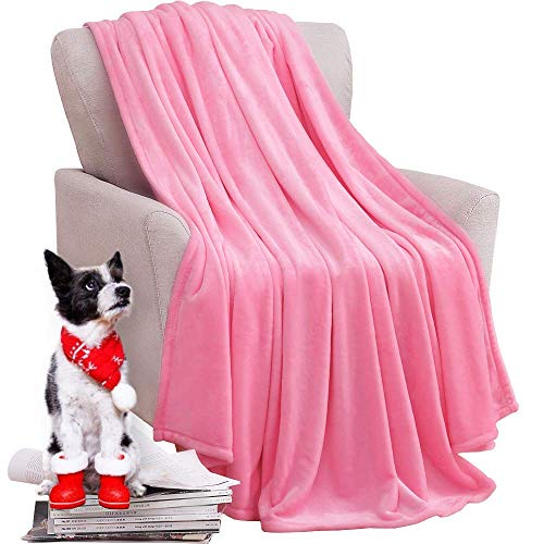 KAWAHOME Cozy Flannel Fleece Blanket for Couch Sofa Bed Solid Lightweight Fuzzy Microfiber Spring Blanket Queen Size 90 X 90 Inches Pink