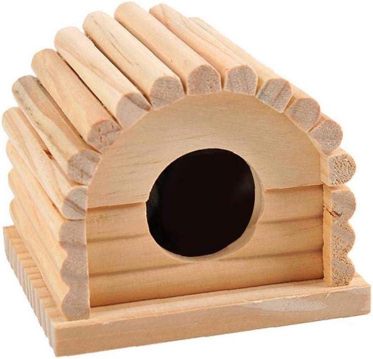 IUwnHceE Madera Hamster Casa Arqueado Escondite Lindo Madera Arqueada del Techo Escondite del Hámster Casa Mascotas