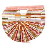 Womens Handmade Bamboo Handbag, Summer Beach Bag for Women Ark Acrylic Clutch Handbag Large Tote Bag Beach Bag (Multicolored)