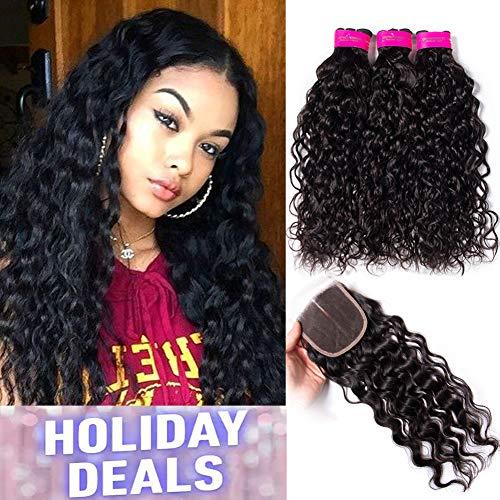 Tinashe Hair Brazilian Water Wave Hair Bundles with Closure Wet and Wavy Human Hair Extensions Natural Color (12 14 16+10 Free Part Closure)